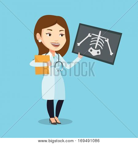 Caucasian female doctor examining a radiograph. Young smiling doctor looking at a chest radiograph. Female doctor observing a skeleton radiograph. Vector flat design illustration. Square layout. stock photo