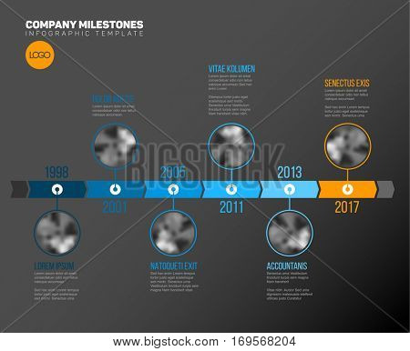 Vector Infographic Company Milestones Timeline Template with circle photo placeholders on a blue time line - dark version stock photo