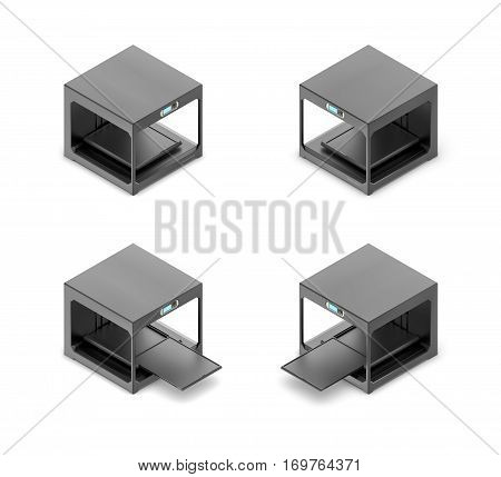 3d rendering of a small black 3d-printer in open and closed state in double-sided isometric view. Hi-tech. Modern production. Industrial equipment. stock photo