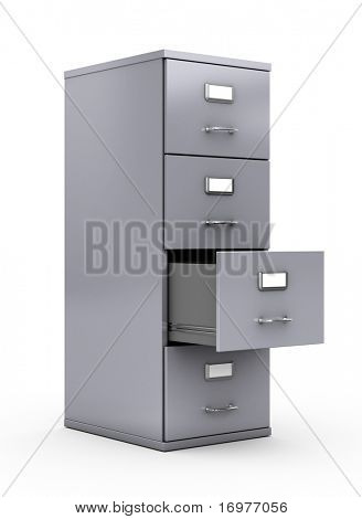 Filing cabinet isolated over white background stock photo