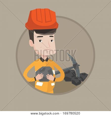 Caucasian miner in hard hat holding coal in hands. Miner with a pickaxe. Man working at coal mine. Young happy miner at work. Vector flat design illustration in the circle isolated on background. stock photo