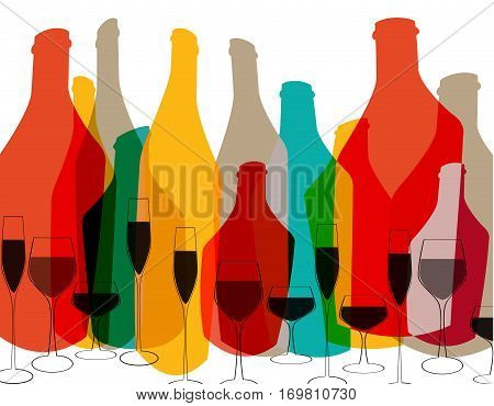 Bottle illustration.Glasses alcohol vector.Cocktail Party.Design for Party.Alcoholic Bottles vector.Wine List Design.Template for Menu Card.Bottle of alcohol.Tumblerful Ilustration.Suitable for Poster stock photo