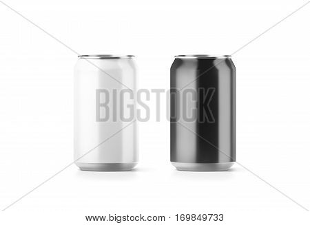 Blank black and white aluminium soda can mockup 3d rendering. Empty beer tin packing mock ups set isolated. Canned drink jar packaging design template. Plain fizzy pop bank package branding. stock photo