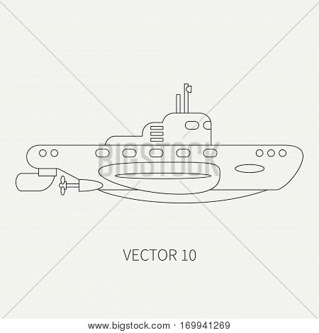 Line flat vector retro icon naval diese submarine. Dreadnought warship. Cartoon vintage style. War. Navy. Ocean. Sea. Torpedo. Armor. Squadron. Captain. Simple Illustration and element for design stock photo