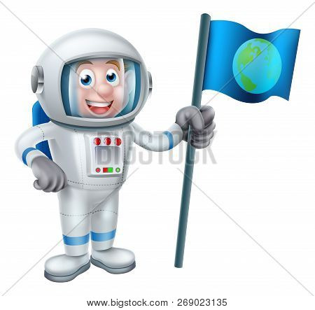 An illustration of a cartoon astronaut holding a flag with the earth on it stock photo
