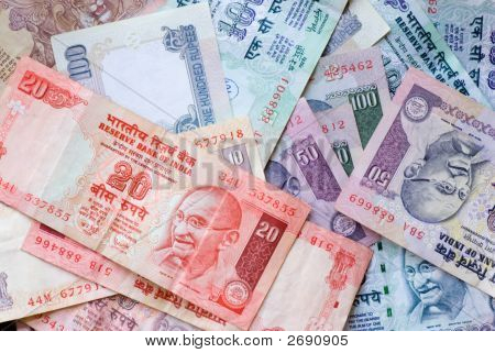 background. indian currency. different banknotes 10 20 50 100 stock photo