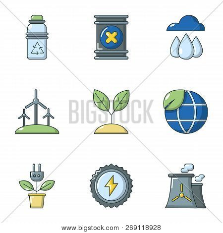 Pure air icons set. Flat set of 9 pure air vector icons for web isolated on white background stock photo
