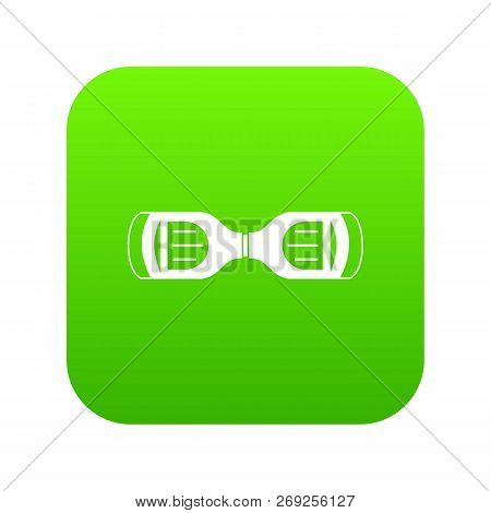 Hoverboard gyro pod top view icon digital green for any design isolated on white illustration stock photo