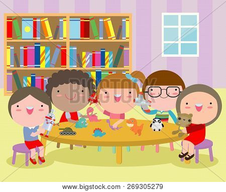 happy children's activity in the kindergarten, cute kids with toy playing playing, Group of happy school child in classroom, education,Vector Illustration stock photo