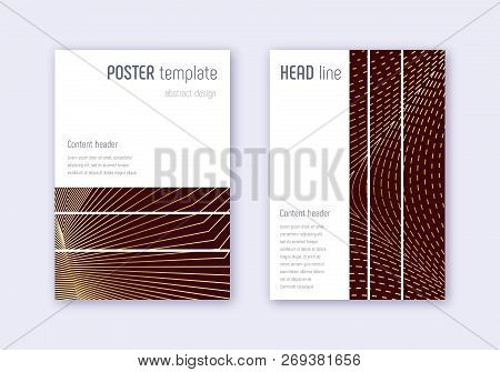 Geometric cover design template set. Gold abstract lines on maroon background. Beautiful cover design. Interesting catalog, poster, book template etc. stock photo