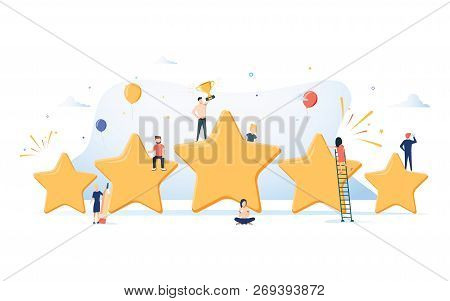 Flat Isometric Vector Concept Of Five Stars, Best Rating, Customer Feedback, Positive Review. Winner
