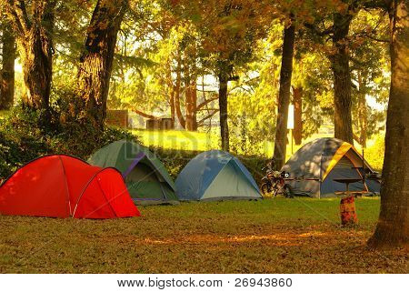 Camping site stock photo