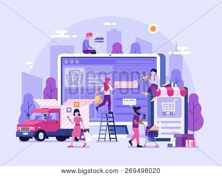 People Shopping Online Concept With Happy Customers Buying And Making Payments With Smartphones. Int