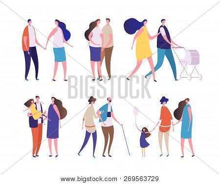 Family characters. Young age people, dad mom, grandpa grandma, children and teenagers. Parents kids, happy families vector set. Illustration of family mom and dad with kids stock photo