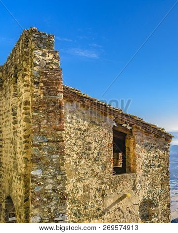 Exterior detail view of san michele sacra abbey which is located at top of pichiriano mountain in piamonte district, Italy stock photo