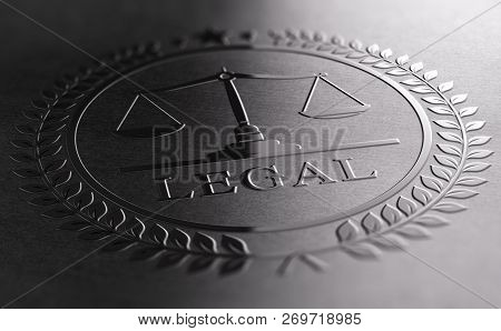 Legal sign design with scales of justice symbol printed on black background. 3D illustration stock photo