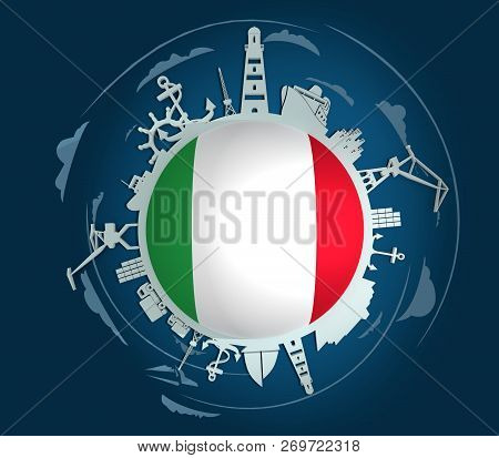 Circle with sea shipping and travel relative silhouettes. Objects located around the circle. Industrial design background. Italia flag in the center. 3D rendering stock photo