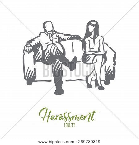 Producer, film, actress, sexual, harassment concept. Hand drawn producer offer actress role in film but pretend on sex concept sketch. Isolated vector illustration. stock photo