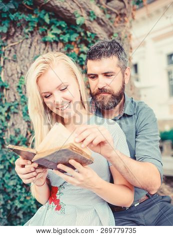 Couple In Love, Teacher And Student Reading,