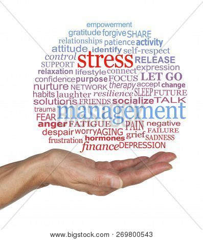 Burst the Stress Management Bubble awareness word cloud - female open palm with a blue and red STRESS MANAGEMENT word cloud containing relevant words against a white background stock photo