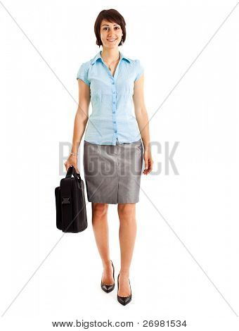 Full length image of confident business woman holding a briefcase stock photo
