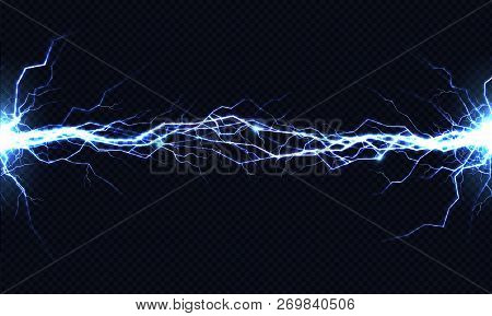 Powerful electrical discharge hitting from side to side realistic vector illustration isolated on black transparent background. Blazing lightning strike in darkness. Electric energy flash light effect stock photo