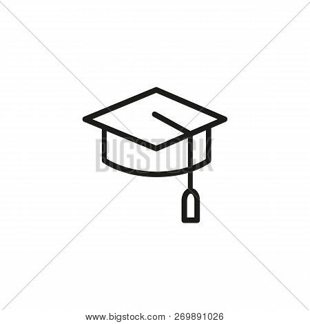 Graduation line icon. University, diploma, finals. Education concept. Vector illustration can be used for topics like university, graduation, studying stock photo