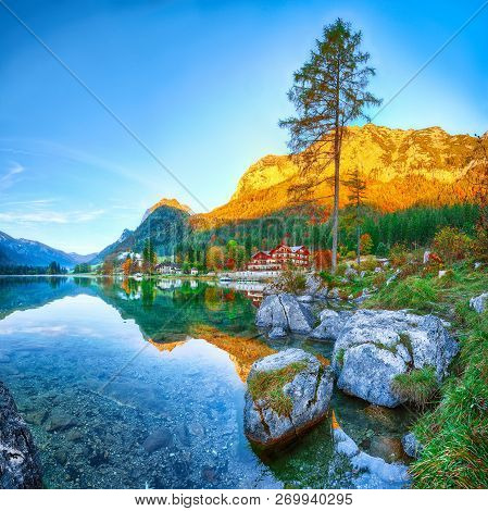 Fantastic autumn sunrise of Hintersee lake. Beautiful scene of trees near turquoise water of Hintersee lake. Location: resort Ramsau, National park Berchtesgadener Land, Upper Bavaria, Germany Alps, Europe stock photo