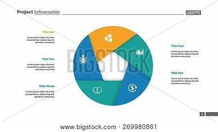 Donut chart with five sections. Infochart, swot analysis, slide template. Reference data concept. Can be used for presentations, layouts, reports stock photo