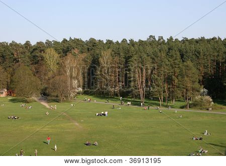 Sunny weekend in Vingis park of Vilnius view from above stock photo
