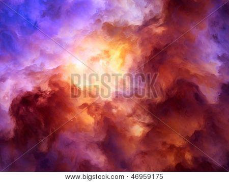 Surreal storm clouds shading from dark purples and reds to oranges and yellows symbolizing a range of concepts such as creation the birth of stars or an ominous maelstrom. stock photo