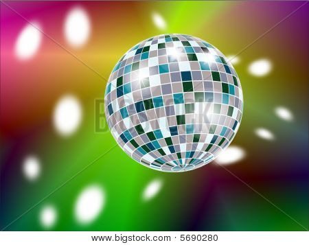 Shiny disco ball with reflections on multi-coloured background stock photo