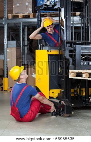 Vertical view of an accident on a forklift stock photo