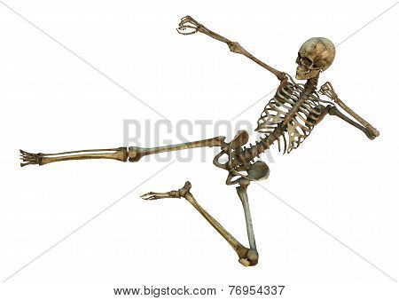 3D digital render of a human skeleton in a yoko-tobi martial arts position isolated on white background stock photo