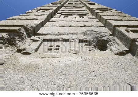 Aksum obelisks symbol of the Aksumite civilization the most powerful between the Eastern Roman Empire and Persia between the 1st and the 13th century A.D. UNESCO World Heritage site. Aksum Ethiopia. stock photo