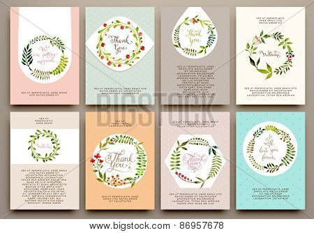 Floral Set with Watercolor Flowers for Summer or Spring Cards, Invitations, Flyers, Banners or Poste