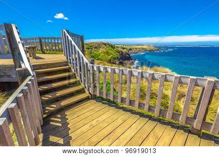 The Nobbies, boardwalks verso Seal Rocks. Grant Point, western tip of Phillip Island, Victoria, Australia. stock photo