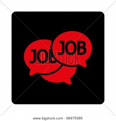 Labor Market icon. This flat rounded square button uses intensive red and black colors and isolated on a white background. stock photo