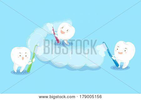 cute cartoon teeth brush invisible braces on blue background stock photo