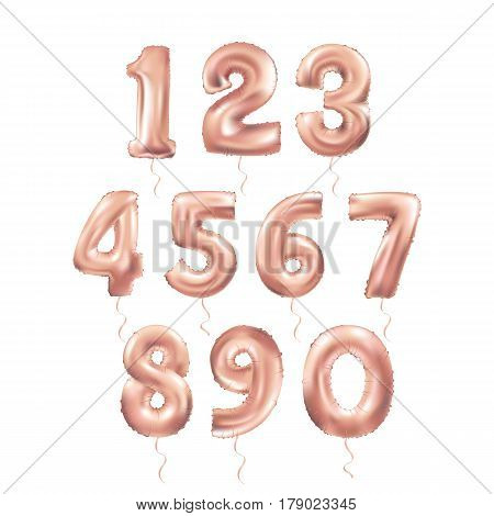 Metallic Pink Letter Balloons 123 golden numeral alphabeth. Dust pink Number Balloons 1 Alphabet Letter Balloons 2 Number Balloons 3 Air Filled Balloon stock photo