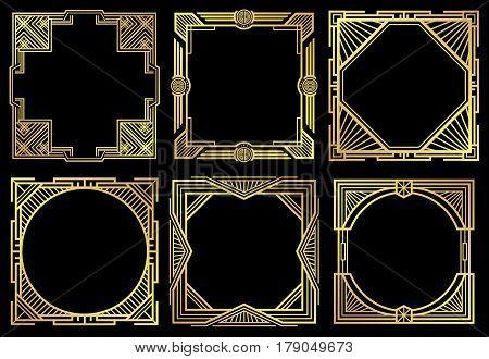 Art deco nouveau border frames in 1920s style vector set. Frame of ornament design, illustration oif golden retro frames stock photo