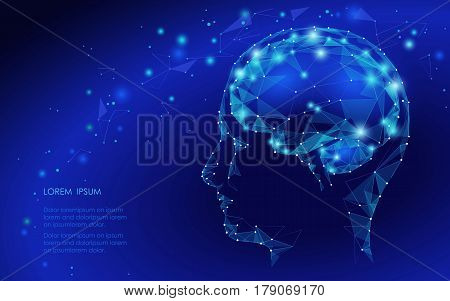 Concept Of Active Human Brain With Binary Code Stream. Human Brain Covered With Fall Of Binary Numbe