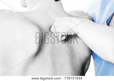 Physiotherapist is testing low dorsal in silhouette studio on white background. Quick scan stock photo