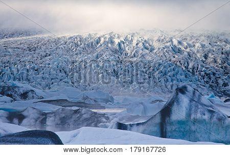 Beautiful cold view of icelandic glacier Vatnajokull Iceland stock photo