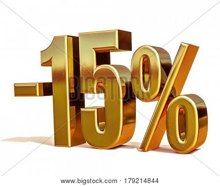 3d render: Gold -15%, Minus Fifteen Percent Discount Sign stock photo