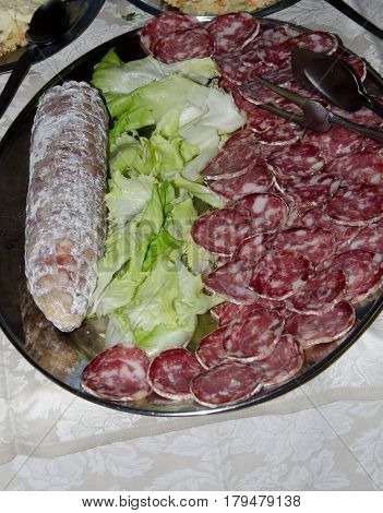 plate of hors d'oeuvres of Italian salami stock photo
