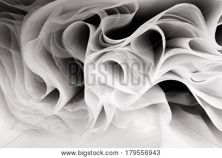 Abstract soft chiffon texture background. Waves of soft cloth stock photo