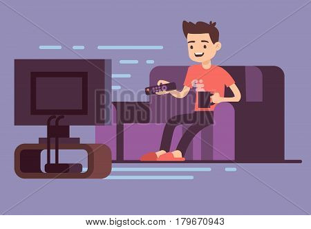 Man watching TV and drinking coffee on sofa in home room interior vector illustration. Man on sofa watch tv, illustration of male in room with tv screen stock photo
