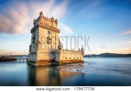 Lisbon Belem Tower - Tagus River Portugal at sunset