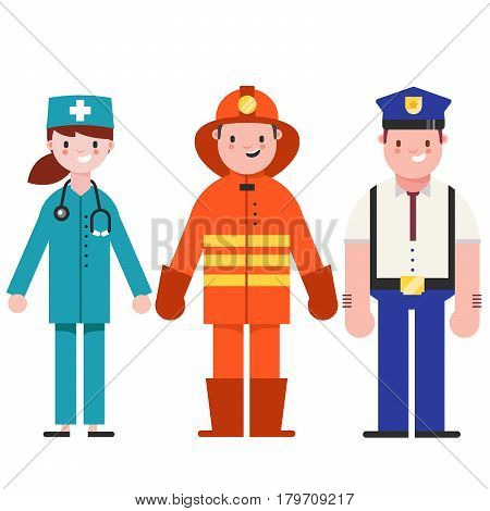 Set of people icons in flat style policeman, fireman, doctor. Emergency service.Vector illustration of people different professions.